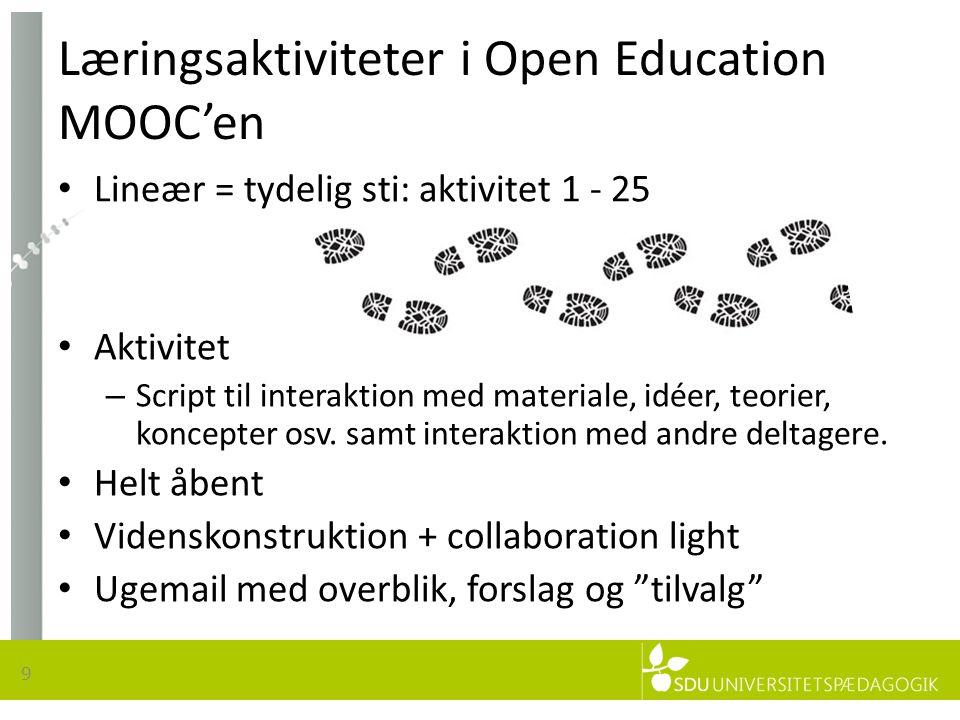 Læringsaktiviteter i Open Education MOOC'en • Lineær = tydelig sti: aktivitet 1 - 25 • Aktivitet – Script til interaktion med materiale, idéer, teorier, koncepter osv.