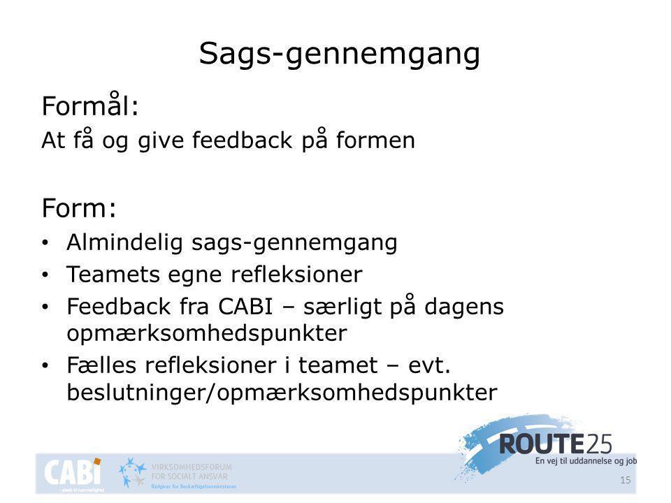 Sags-gennemgang Formål: At få og give feedback på formen Form: • Almindelig sags-gennemgang • Teamets egne refleksioner • Feedback fra CABI – særligt på dagens opmærksomhedspunkter • Fælles refleksioner i teamet – evt.