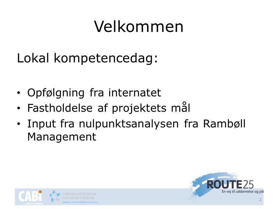 Velkommen Lokal kompetencedag: • Opfølgning fra internatet • Fastholdelse af projektets mål • Input fra nulpunktsanalysen fra Rambøll Management 2