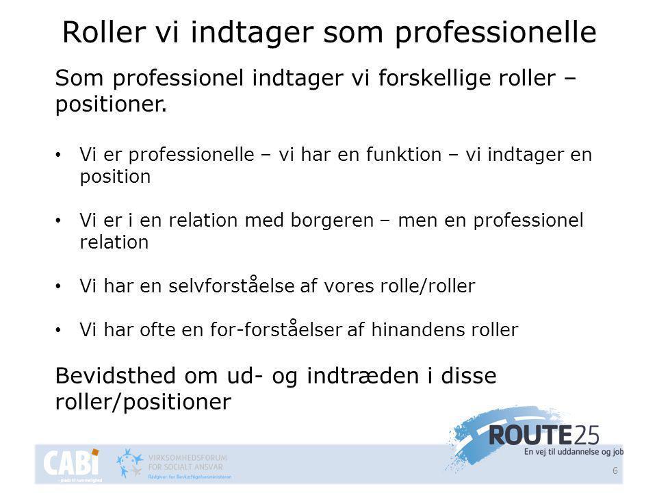 Roller vi indtager som professionelle 6 Som professionel indtager vi forskellige roller – positioner.