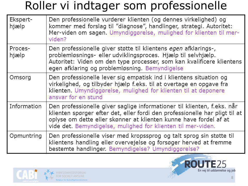 8 Roller vi indtager som professionelle Ekspert- hjælp Den professionelle vurderer klienten (og dennes virkelighed) og kommer med forslag til diagnose , handlinger, strategi.
