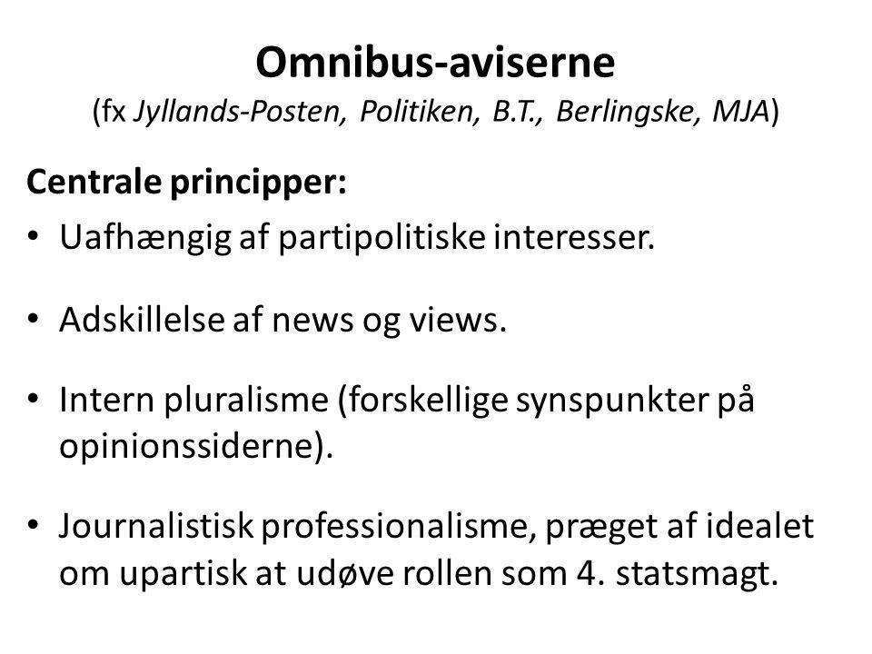 Omnibus-aviserne (fx Jyllands-Posten, Politiken, B.T., Berlingske, MJA) Centrale principper: • Uafhængig af partipolitiske interesser.