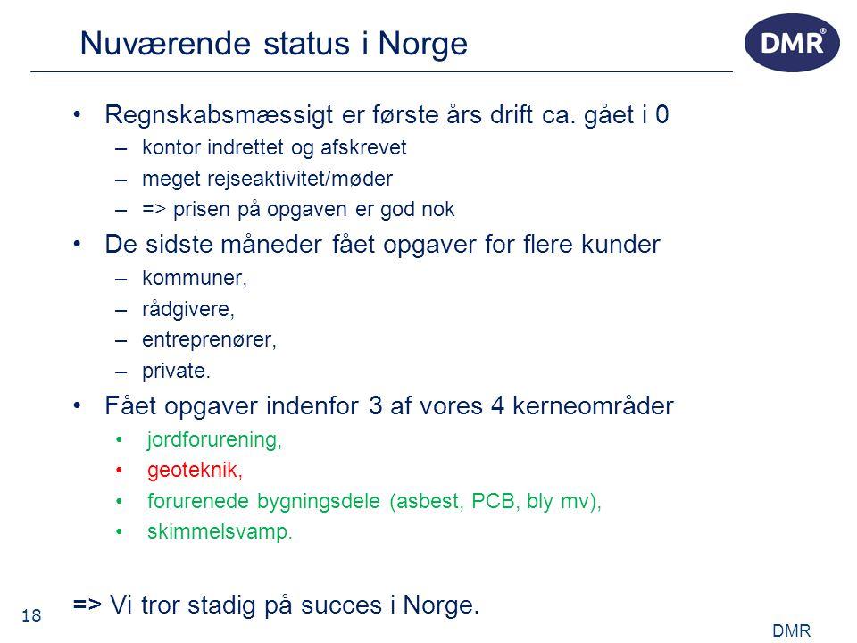 18 Nuværende status i Norge •Regnskabsmæssigt er første års drift ca.
