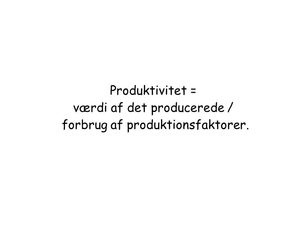 Produktivitet = værdi af det producerede / forbrug af produktionsfaktorer.