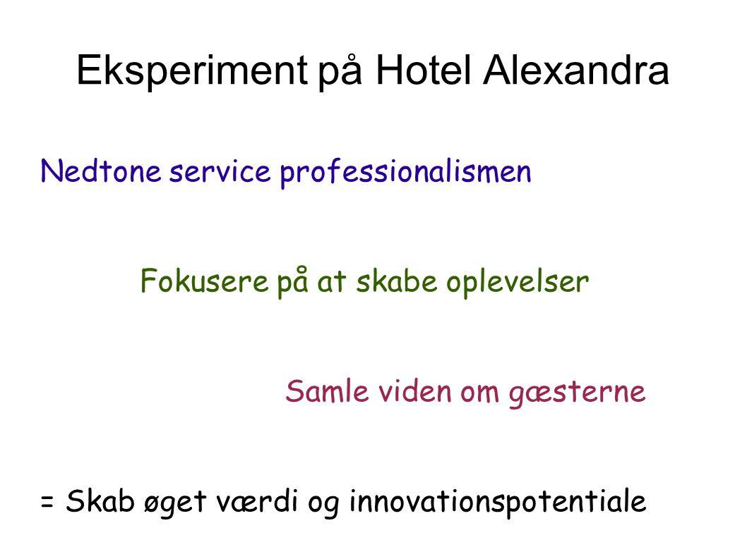 Eksperiment på Hotel Alexandra Nedtone service professionalismen Fokusere på at skabe oplevelser Samle viden om gæsterne = Skab øget værdi og innovationspotentiale