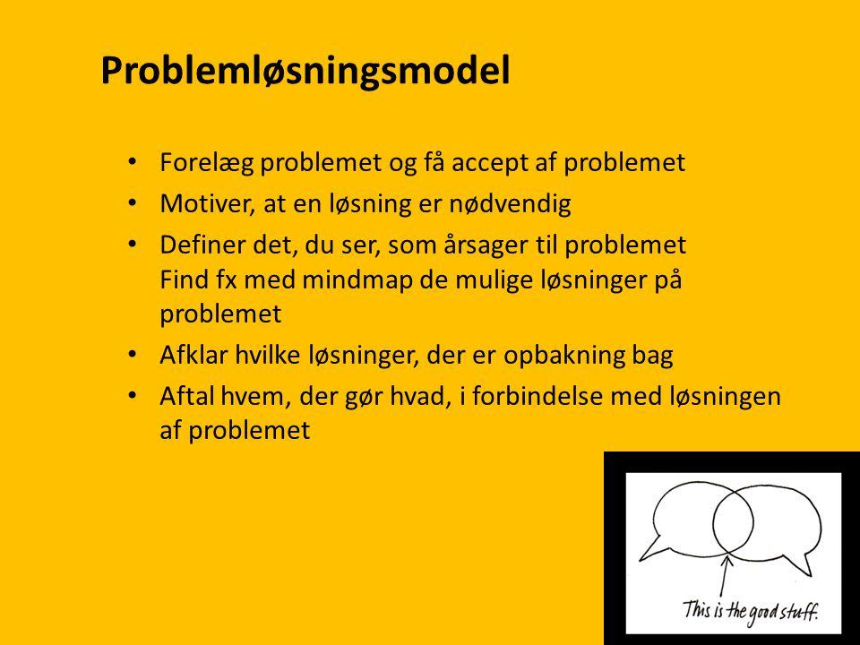 Problemløsningsmodel • Forelæg problemet og få accept af problemet • Motiver, at en løsning er nødvendig • Definer det, du ser, som årsager til problemet Find fx med mindmap de mulige løsninger på problemet • Afklar hvilke løsninger, der er opbakning bag • Aftal hvem, der gør hvad, i forbindelse med løsningen af problemet
