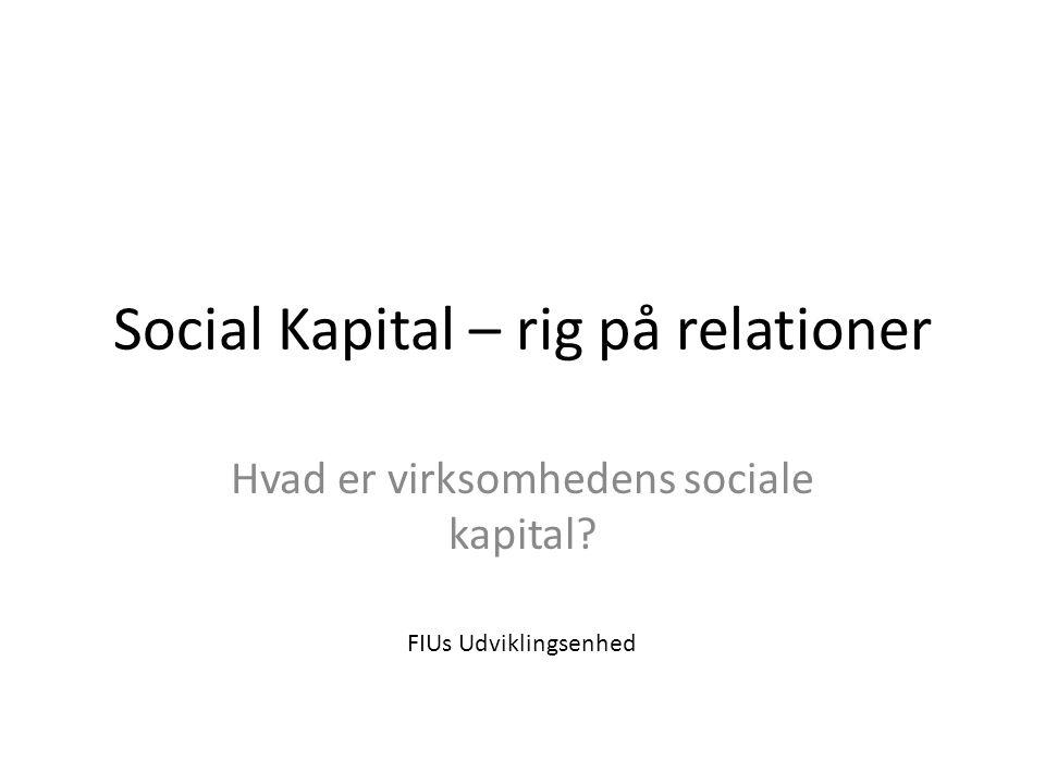 12 Samlende Social kapital i balance Brobyggende Forbindende Grupper eller fag Øverste ledelse Afdelinger
