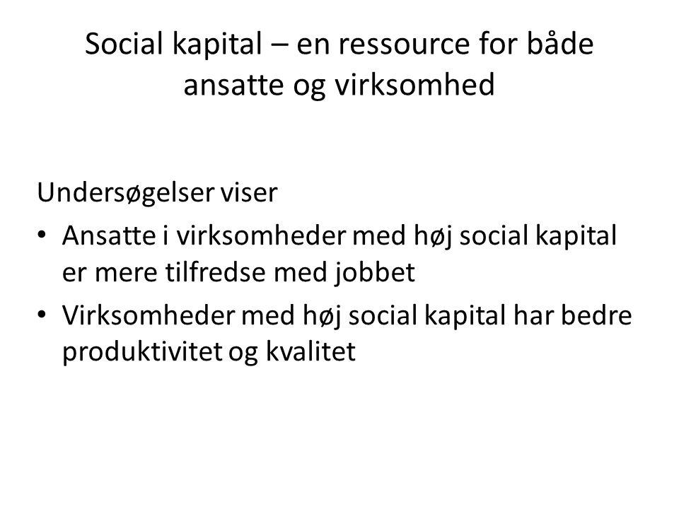Social kapital i en virksomhed Samarbejds- evne Tillid Retfærdighed Kerne- opgave De sociale relationer Virksomhedens sociale kapital er en egenskab ved virksomheden som sætter organisationens medlemmer i stand til at løse kerneopgaven i fællesskab