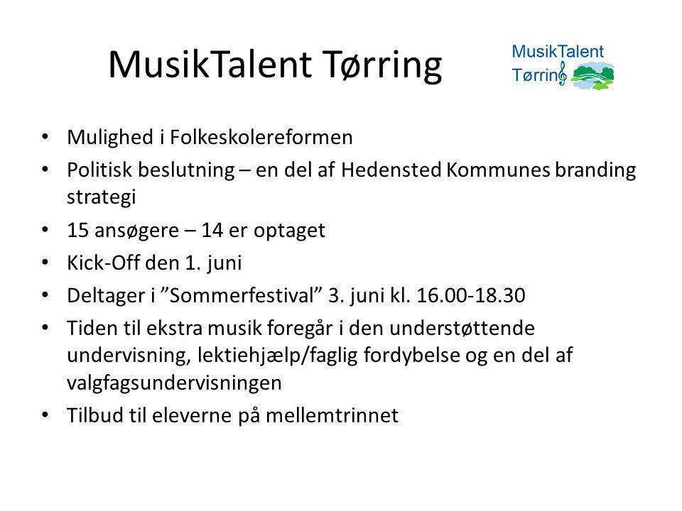 MusikTalent Tørring • Mulighed i Folkeskolereformen • Politisk beslutning – en del af Hedensted Kommunes branding strategi • 15 ansøgere – 14 er optaget • Kick-Off den 1.