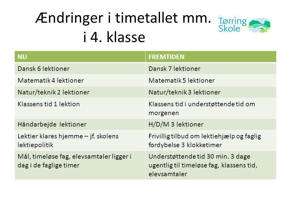 Ændringer i timetallet mm. i 4.