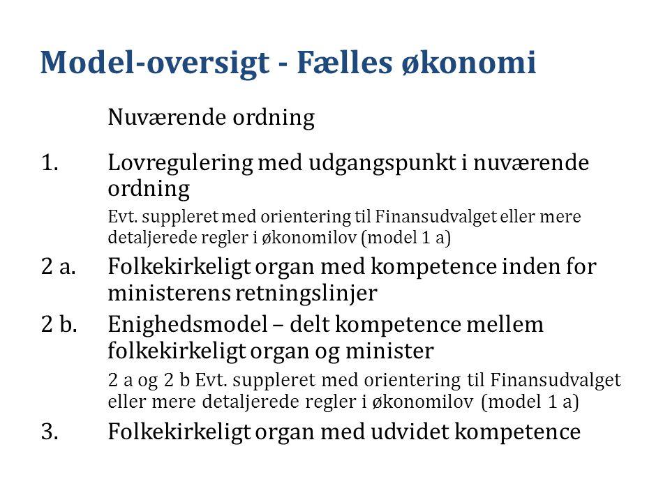 Model-oversigt - Fælles økonomi Nuværende ordning 1.Lovregulering med udgangspunkt i nuværende ordning Evt.