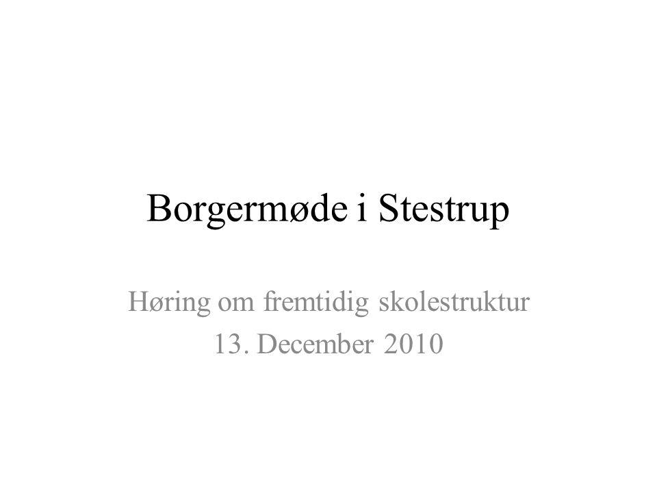 Borgermøde i Stestrup Høring om fremtidig skolestruktur 13. December 2010
