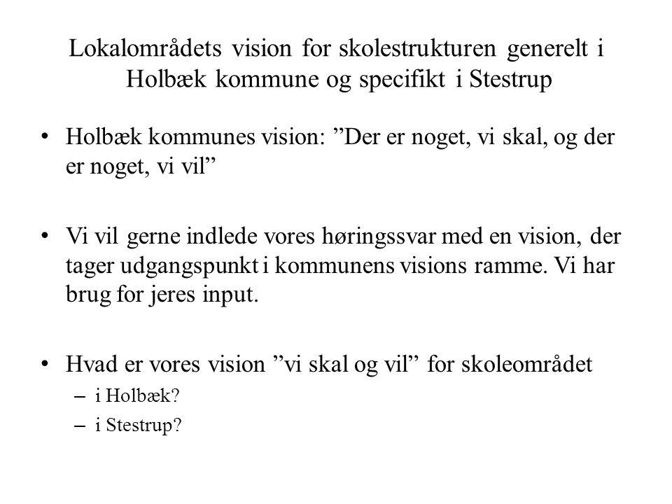 Lokalområdets vision for skolestrukturen generelt i Holbæk kommune og specifikt i Stestrup • Holbæk kommunes vision: Der er noget, vi skal, og der er noget, vi vil • Vi vil gerne indlede vores høringssvar med en vision, der tager udgangspunkt i kommunens visions ramme.