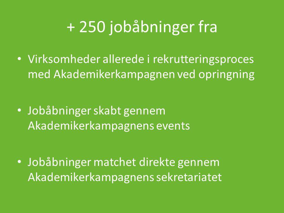 + 250 jobåbninger fra • Virksomheder allerede i rekrutteringsproces med Akademikerkampagnen ved opringning • Jobåbninger skabt gennem Akademikerkampagnens events • Jobåbninger matchet direkte gennem Akademikerkampagnens sekretariatet