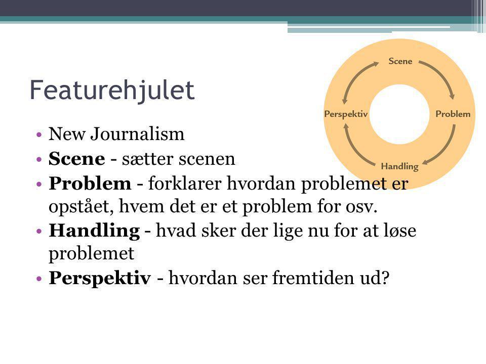 Featurehjulet •New Journalism •Scene - sætter scenen •Problem - forklarer hvordan problemet er opstået, hvem det er et problem for osv. •Handling - hv