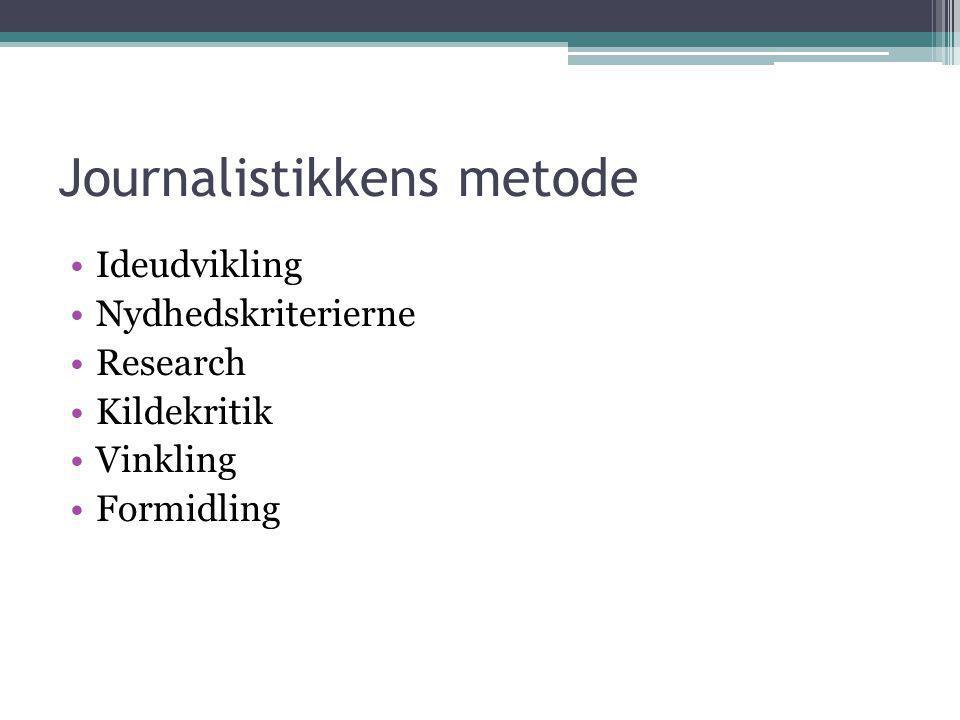 Journalistikkens metode •Ideudvikling •Nydhedskriterierne •Research •Kildekritik •Vinkling •Formidling