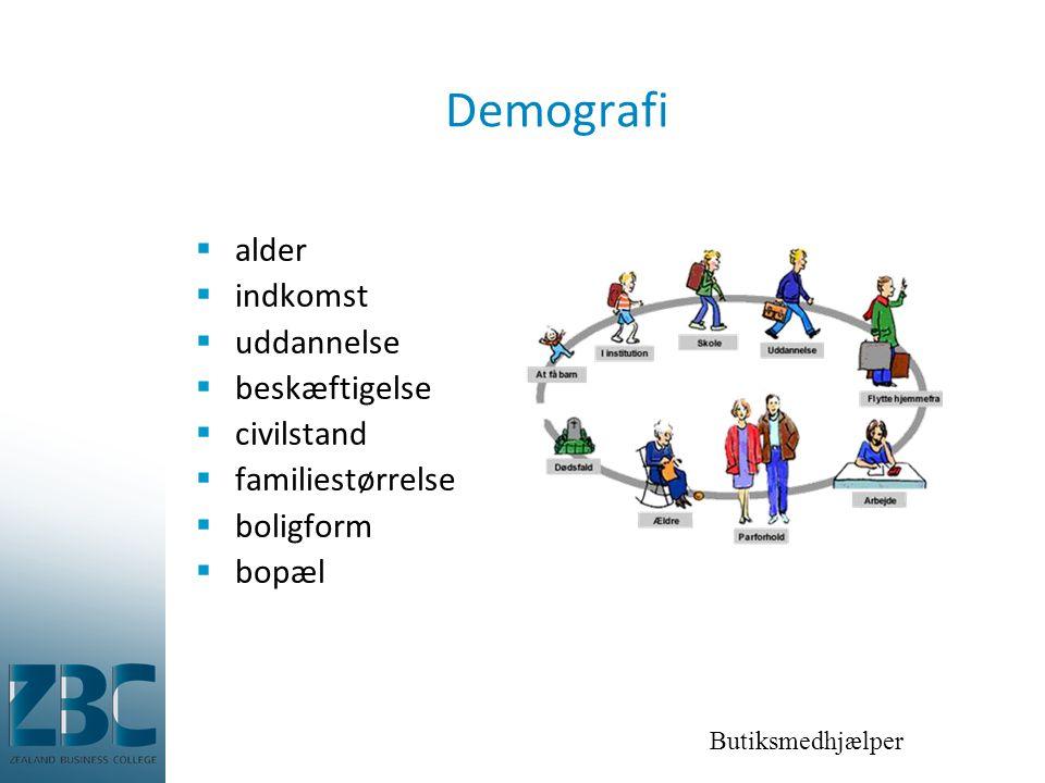 Butiksmedhjælper Demografi  alder  indkomst  uddannelse  beskæftigelse  civilstand  familiestørrelse  boligform  bopæl