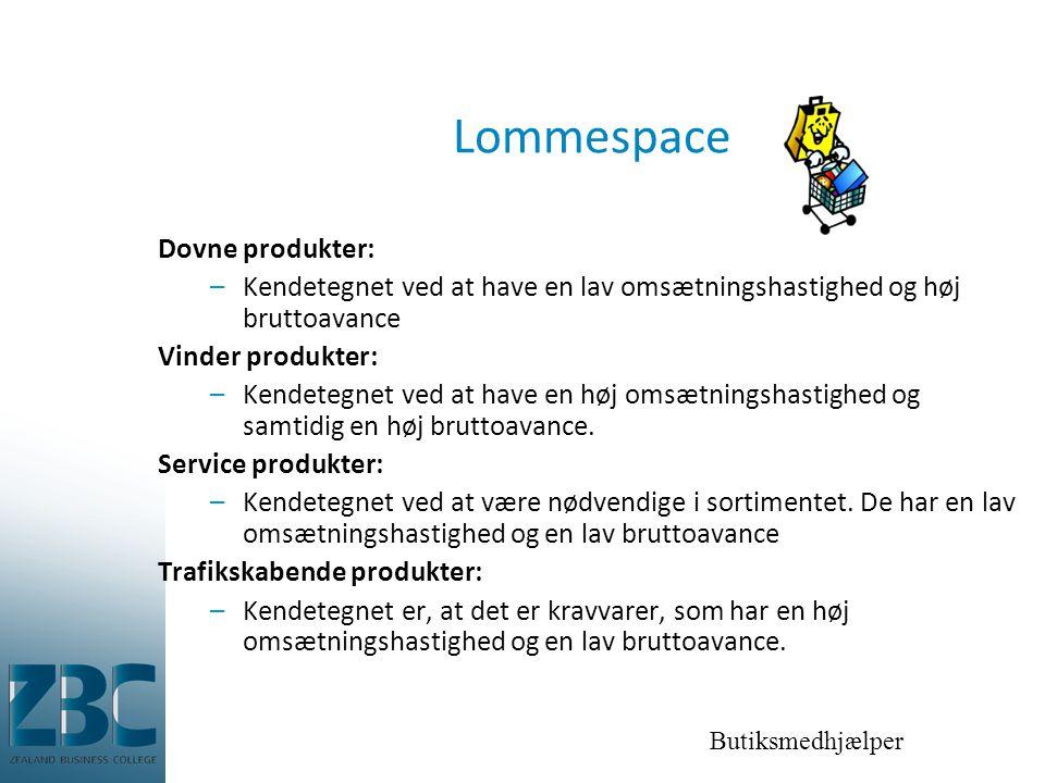 Butiksmedhjælper Lommespace Dovne produkter: –Kendetegnet ved at have en lav omsætningshastighed og høj bruttoavance Vinder produkter: –Kendetegnet ved at have en høj omsætningshastighed og samtidig en høj bruttoavance.