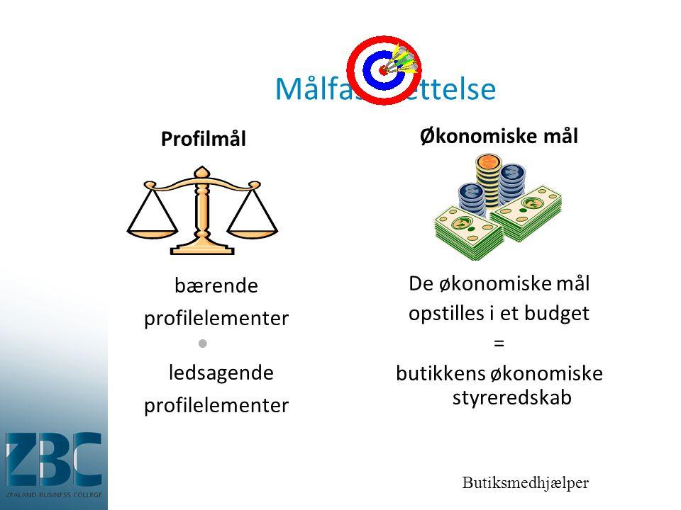 Butiksmedhjælper Målfastsættelse Profilmål bærende profilelementer  ledsagende profilelementer Økonomiske mål De økonomiske mål opstilles i et budget = butikkens økonomiske styreredskab
