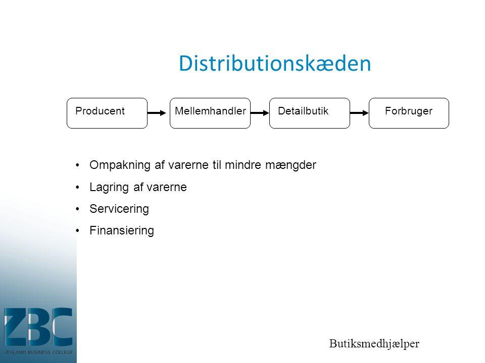 Butiksmedhjælper Distributionskæden ProducentMellemhandlerDetailbutikForbruger •Ompakning af varerne til mindre mængder •Lagring af varerne •Servicering •Finansiering