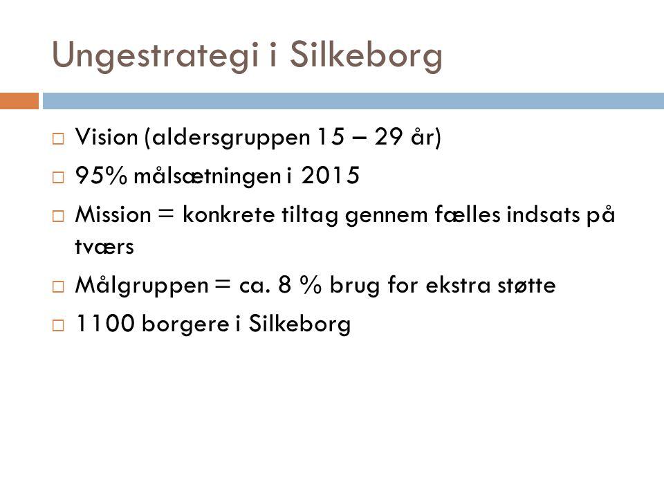 Ungestrategi i Silkeborg  Vision (aldersgruppen 15 – 29 år)  95% målsætningen i 2015  Mission = konkrete tiltag gennem fælles indsats på tværs  Målgruppen = ca.