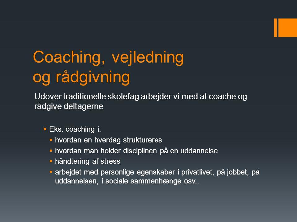 Coaching, vejledning og rådgivning Udover traditionelle skolefag arbejder vi med at coache og rådgive deltagerne  Eks.
