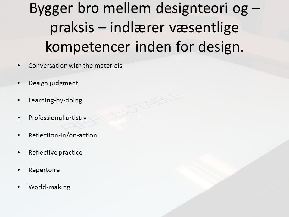 Bygger bro mellem designteori og – praksis – indlærer væsentlige kompetencer inden for design.