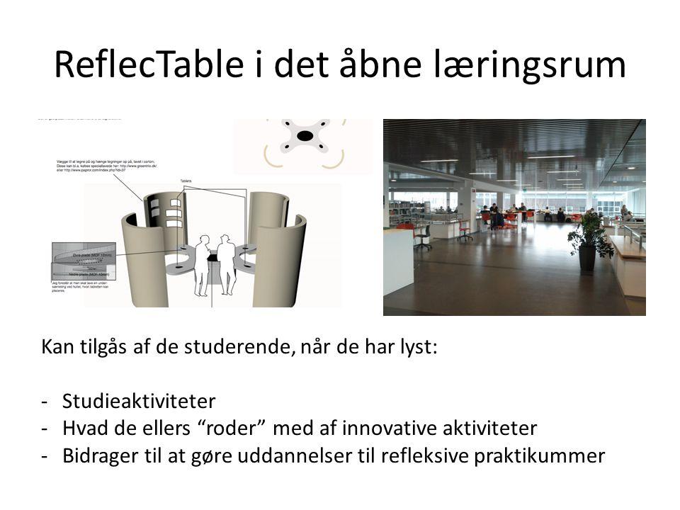 ReflecTable i det åbne læringsrum Kan tilgås af de studerende, når de har lyst: -Studieaktiviteter -Hvad de ellers roder med af innovative aktiviteter -Bidrager til at gøre uddannelser til refleksive praktikummer