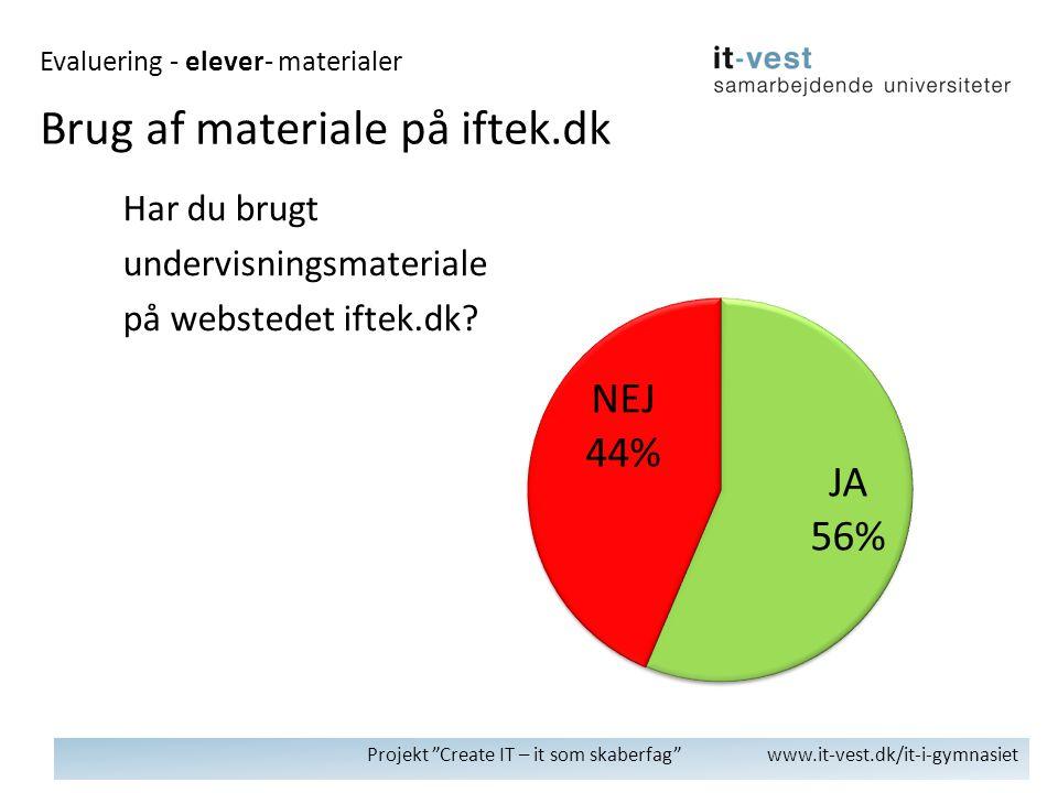 Projekt Create IT – it som skaberfag www.it-vest.dk/it-i-gymnasiet Har du brugt undervisningsmateriale på webstedet iftek.dk.