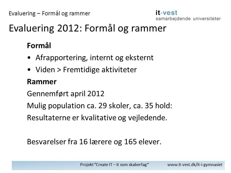 Projekt Create IT – it som skaberfag www.it-vest.dk/it-i-gymnasiet Formål •Afrapportering, internt og eksternt •Viden > Fremtidige aktiviteter Rammer Gennemført april 2012 Mulig population ca.