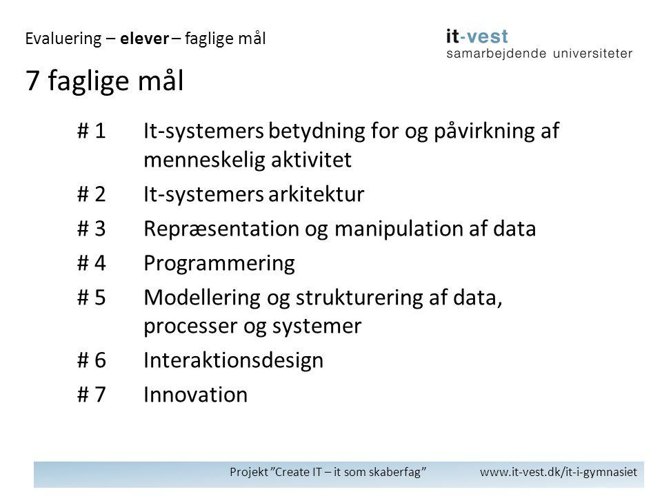 Projekt Create IT – it som skaberfag www.it-vest.dk/it-i-gymnasiet 7 faglige mål Evaluering – elever – faglige mål # 1It-systemers betydning for og påvirkning af menneskelig aktivitet # 2It-systemers arkitektur # 3Repræsentation og manipulation af data # 4Programmering # 5Modellering og strukturering af data, processer og systemer # 6Interaktionsdesign # 7Innovation