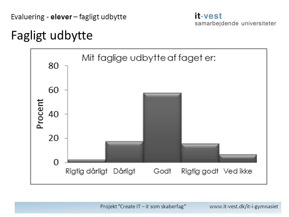 Projekt Create IT – it som skaberfag www.it-vest.dk/it-i-gymnasiet Fagligt udbytte Evaluering - elever – fagligt udbytte