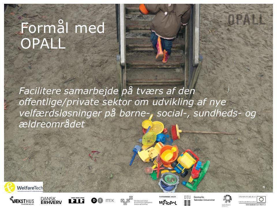 4 Formål med OPALL Facilitere samarbejde på tværs af den offentlige/private sektor om udvikling af nye velfærdsløsninger på børne-, social-, sundheds- og ældreområdet