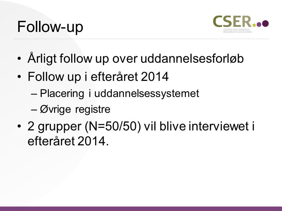 Follow-up •Årligt follow up over uddannelsesforløb •Follow up i efteråret 2014 –Placering i uddannelsessystemet –Øvrige registre •2 grupper (N=50/50) vil blive interviewet i efteråret 2014.