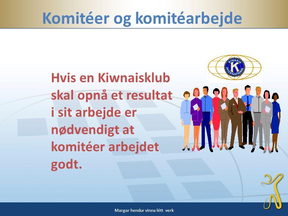 Komitéer og komitéarbejde Hvis en Kiwnaisklub skal opnå et resultat i sit arbejde er nødvendigt at komitéer arbejdet godt.
