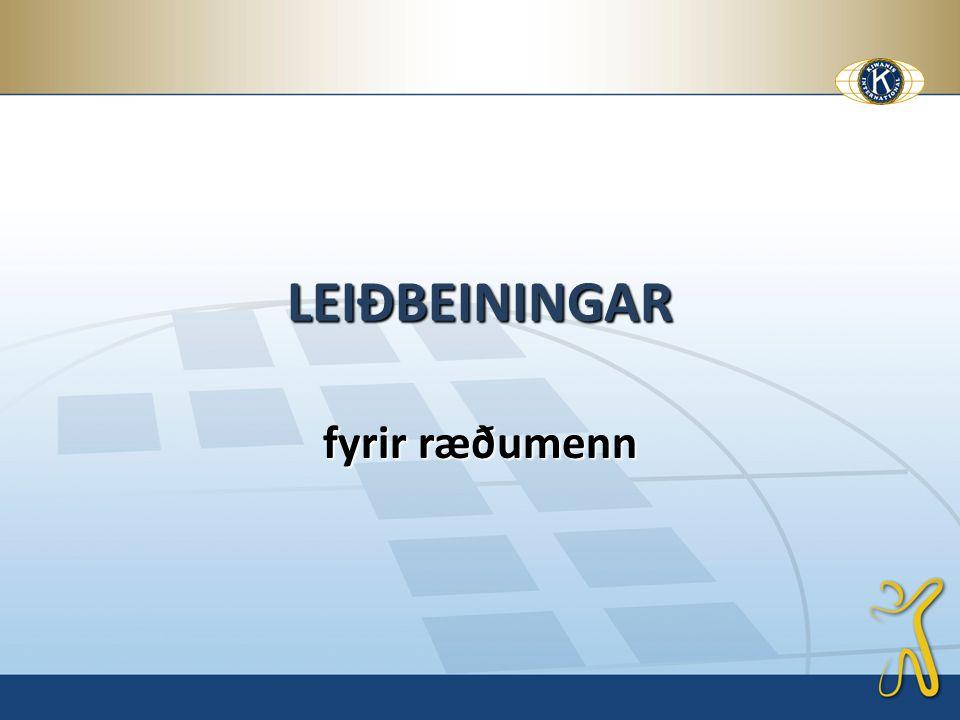 LEIÐBEININGAR fyrir ræðumenn