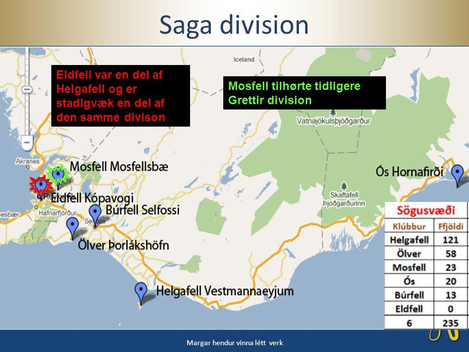 Saga division Margar hendur vinna létt verk Eldfell var en del af Helgafell og er stadigvæk en del af den samme divison Mosfell tilhørte tidligere Grettir division