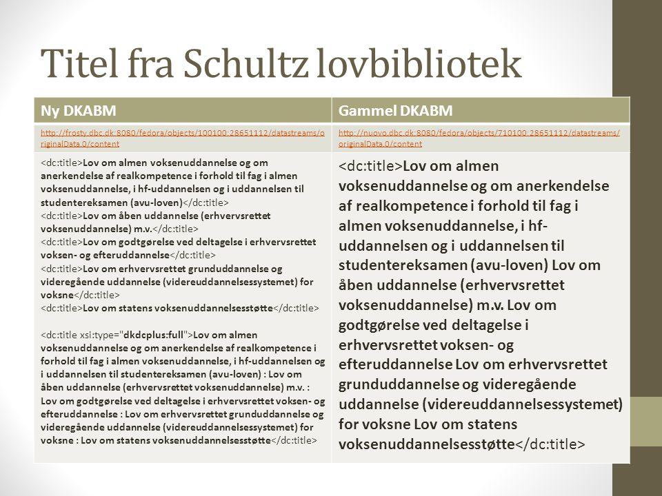 Titel fra Schultz lovbibliotek Ny DKABMGammel DKABM http://frosty.dbc.dk:8080/fedora/objects/100100:28651112/datastreams/o riginalData.0/content http://nuovo.dbc.dk:8080/fedora/objects/710100:28651112/datastreams/ originalData.0/content Lov om almen voksenuddannelse og om anerkendelse af realkompetence i forhold til fag i almen voksenuddannelse, i hf-uddannelsen og i uddannelsen til studentereksamen (avu-loven) Lov om åben uddannelse (erhvervsrettet voksenuddannelse) m.v.