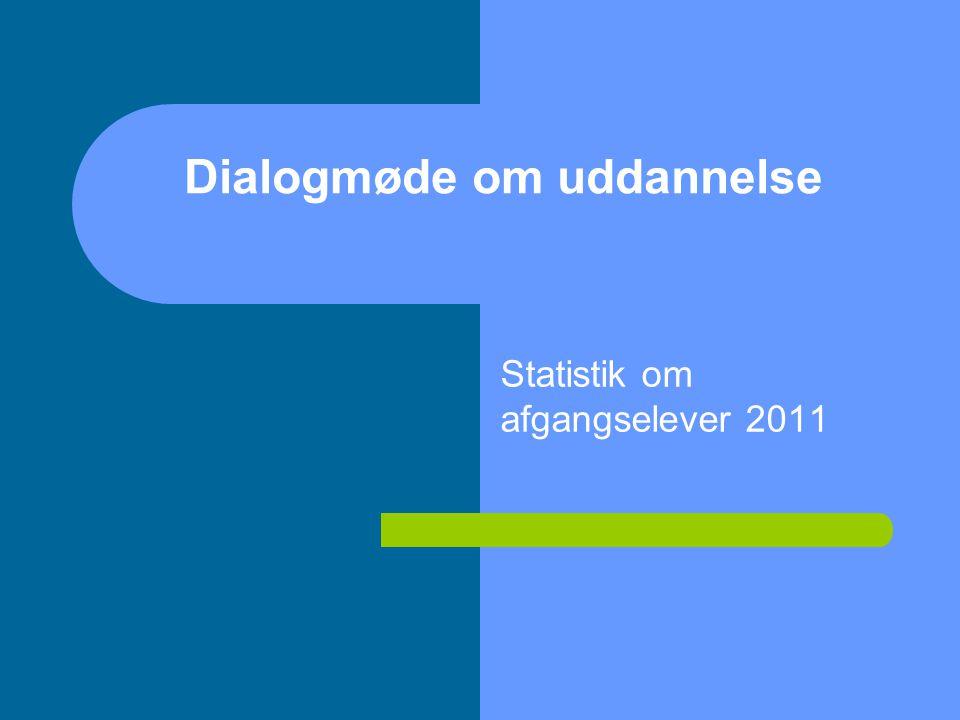 Statistik om afgangselever 2011 Dialogmøde om uddannelse
