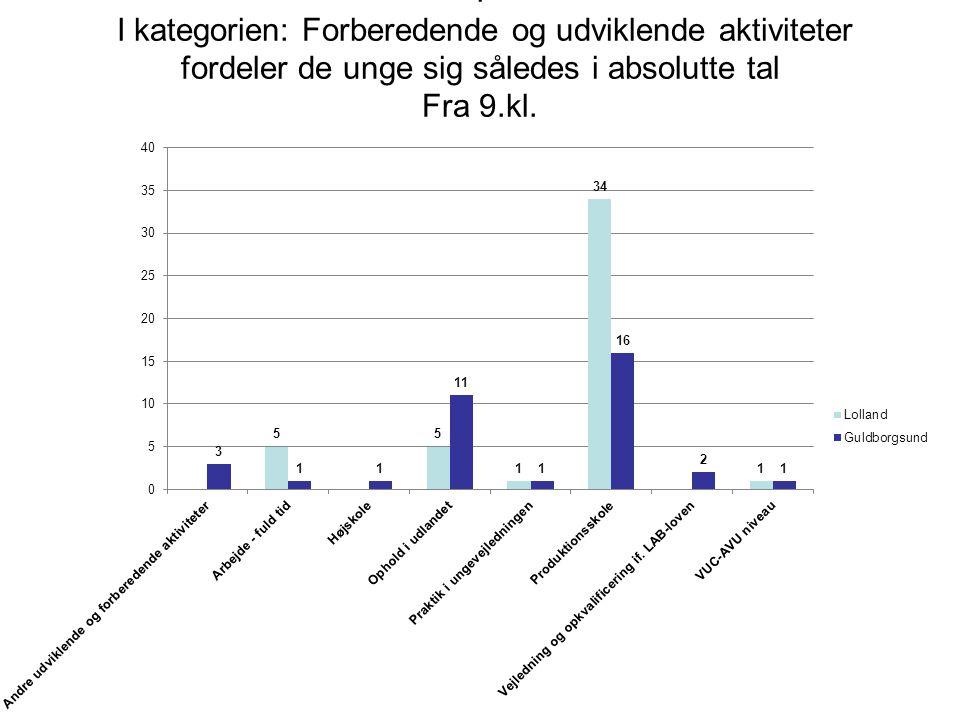I I kategorien: Forberedende og udviklende aktiviteter fordeler de unge sig således i absolutte tal Fra 9.kl.