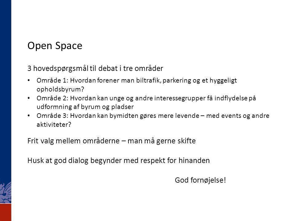 Open Space 3 hovedspørgsmål til debat i tre områder • Område 1: Hvordan forener man biltrafik, parkering og et hyggeligt opholdsbyrum.