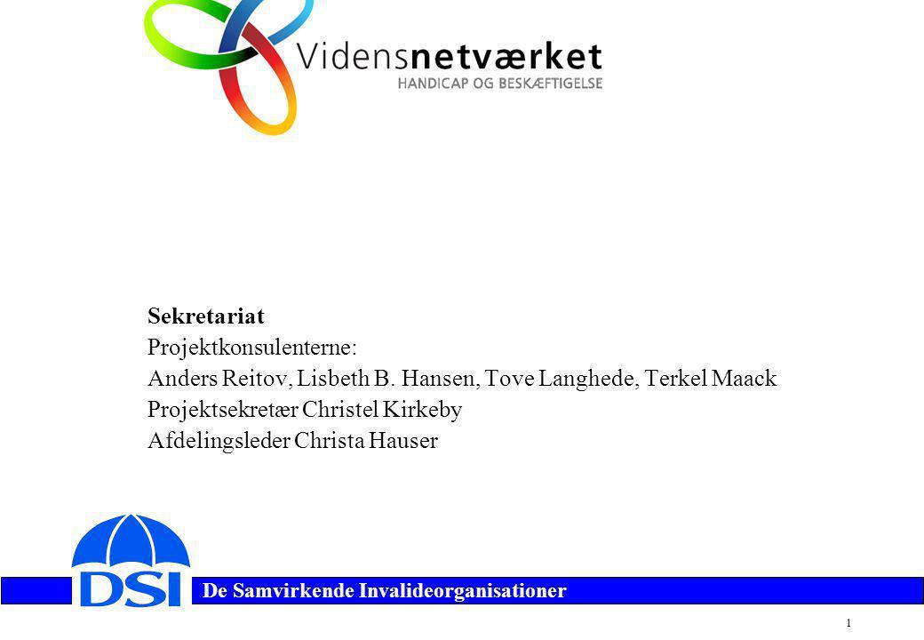 De Samvirkende Invalideorganisationer 1 Sekretariat Projektkonsulenterne: Anders Reitov, Lisbeth B.