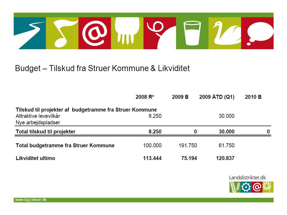 www.lag-struer.dk Budget – Tilskud fra Struer Kommune & Likviditet