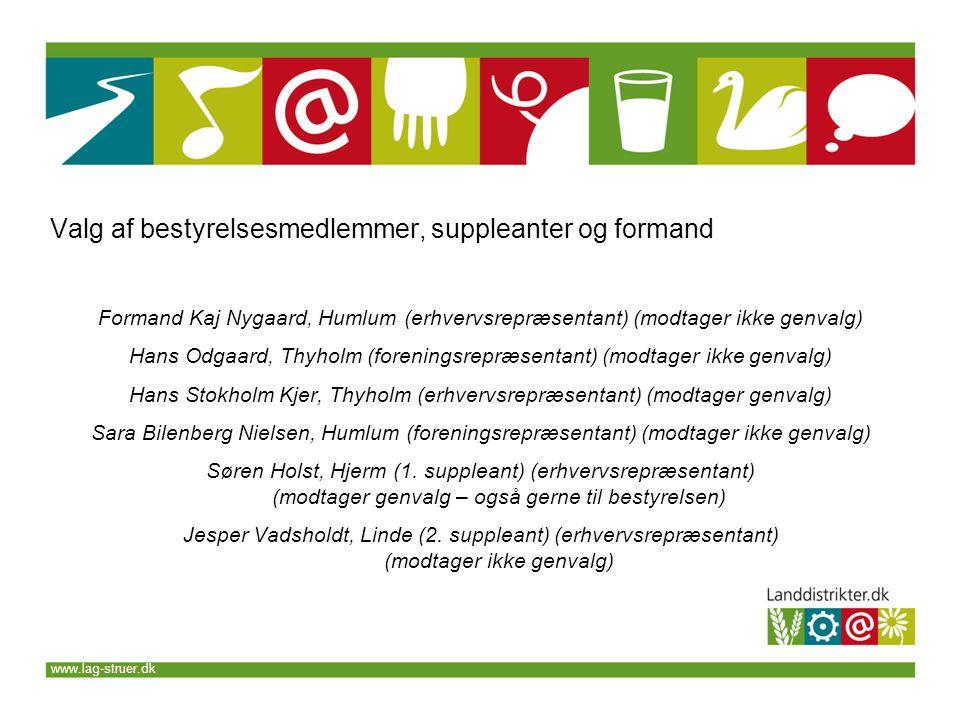 www.lag-struer.dk Formand Kaj Nygaard, Humlum (erhvervsrepræsentant) (modtager ikke genvalg) Hans Odgaard, Thyholm (foreningsrepræsentant) (modtager ikke genvalg) Hans Stokholm Kjer, Thyholm (erhvervsrepræsentant) (modtager genvalg) Sara Bilenberg Nielsen, Humlum (foreningsrepræsentant) (modtager ikke genvalg) Søren Holst, Hjerm (1.