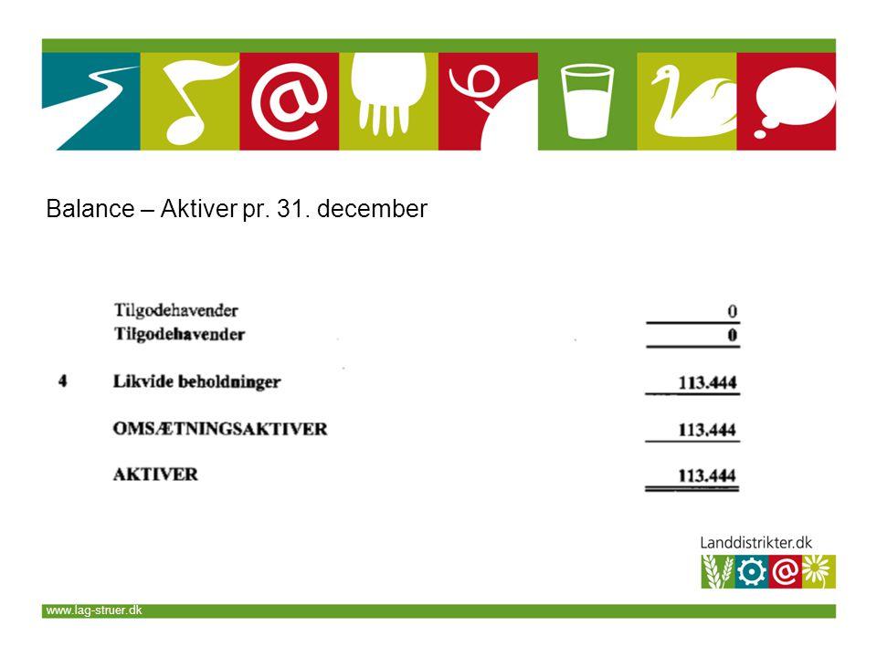 www.lag-struer.dk Balance – Aktiver pr. 31. december