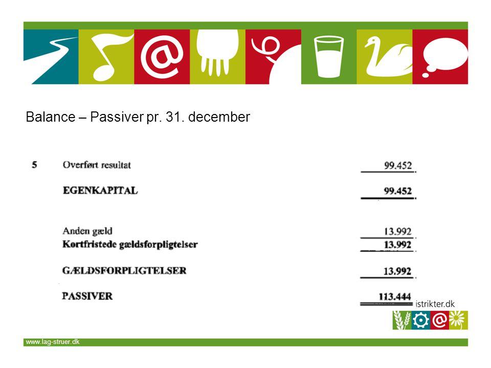 www.lag-struer.dk Balance – Passiver pr. 31. december