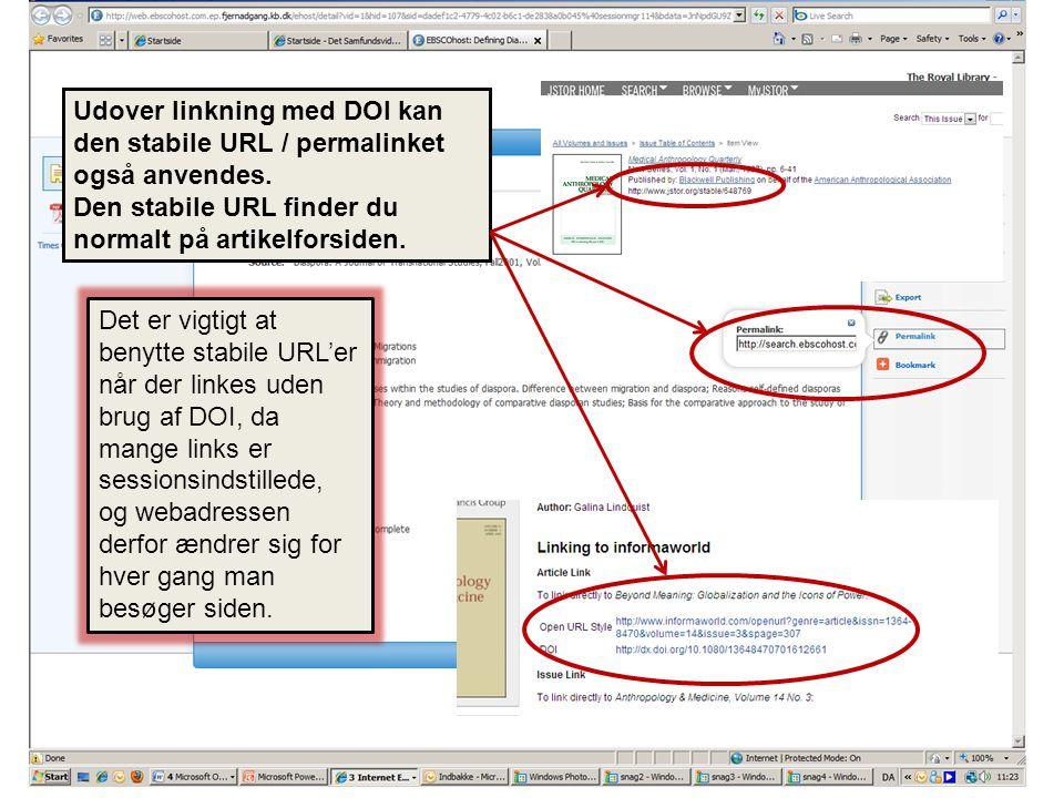Udover DOI linkning kan du også anvende den stabile URL/permalinket.