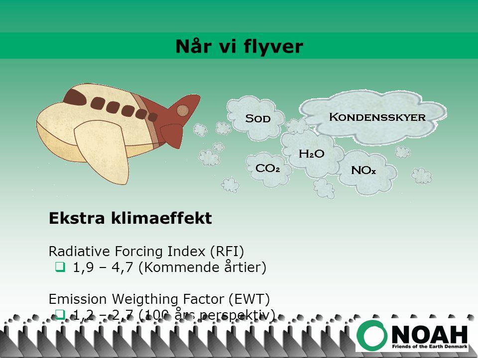 Ekstra klimaeffekt Radiative Forcing Index (RFI)  1,9 – 4,7 (Kommende årtier) Emission Weigthing Factor (EWT)  1,2 – 2,7 (100 års perspektiv) Når vi flyver