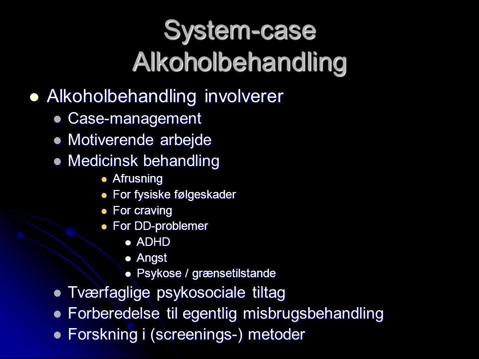 System-case Alkoholbehandling  Alkoholbehandling involverer  Case-management  Motiverende arbejde  Medicinsk behandling  Afrusning  For fysiske følgeskader  For craving  For DD-problemer  ADHD  Angst  Psykose / grænsetilstande  Tværfaglige psykosociale tiltag  Forberedelse til egentlig misbrugsbehandling  Forskning i (screenings-) metoder