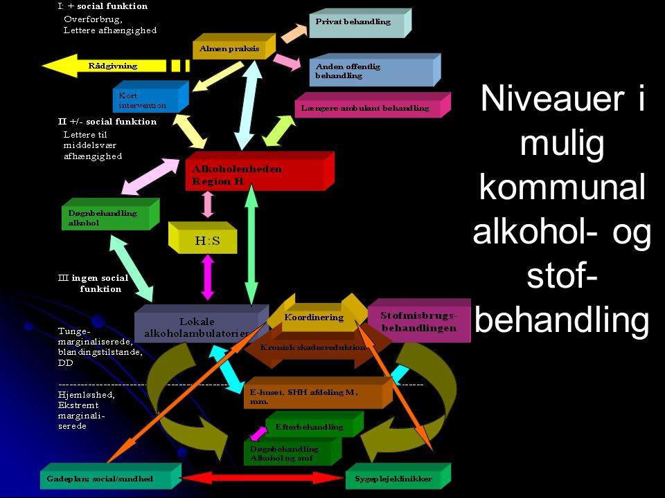 Niveauer i mulig kommunal alkohol- og stof- behandling